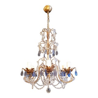Fine Beaded Blue Crystal Chandelier Antique Ceiling Lamp Lustre Art Nouveau For Sale