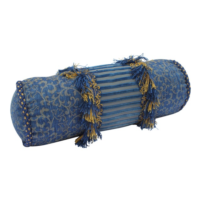 Contemporary Small Small Silk and Velvet Bolster Pillow in Blue and Gold For Sale - Image 13 of 13