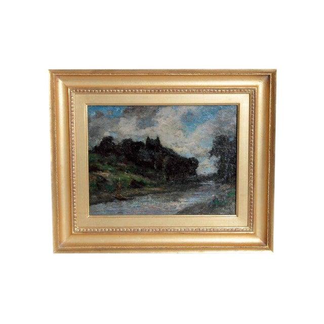 19th Century English Oil Canvas Atmospheric Landscape For Sale