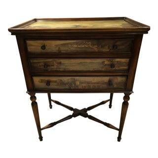 Theodore Alexander Decoupage Side Table With Drawers