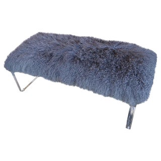 Acrylic Bench With Removable Sheepskin Seat For Sale
