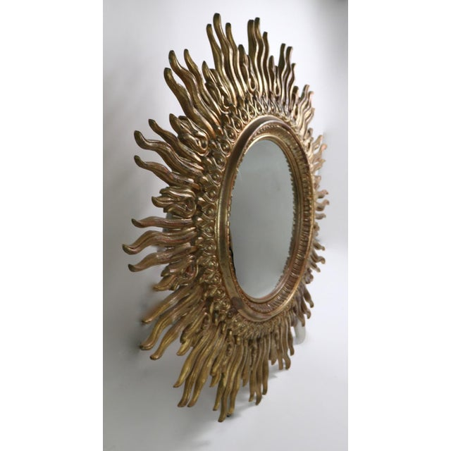 Large Decorative Sunburst Starburst Mirror With Cast Plastic Frame For Sale - Image 9 of 11