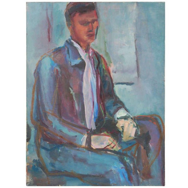 Blue Portrait Painting, Circa 1960 For Sale - Image 8 of 8