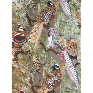 """Mulberry Home """"Game Birds"""" Linen Stone Fabric - 3 1/2 Yards For Sale"""