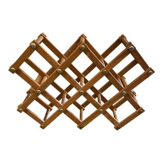 Mid-Century Modern Collapsible Wooden Wine Rack For Sale