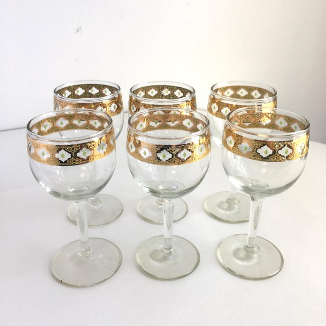Mid-Century Modern Culver Valencia Gold and Green Wine Glasses Vintage Barware - Set of 6 For Sale - Image 3 of 6