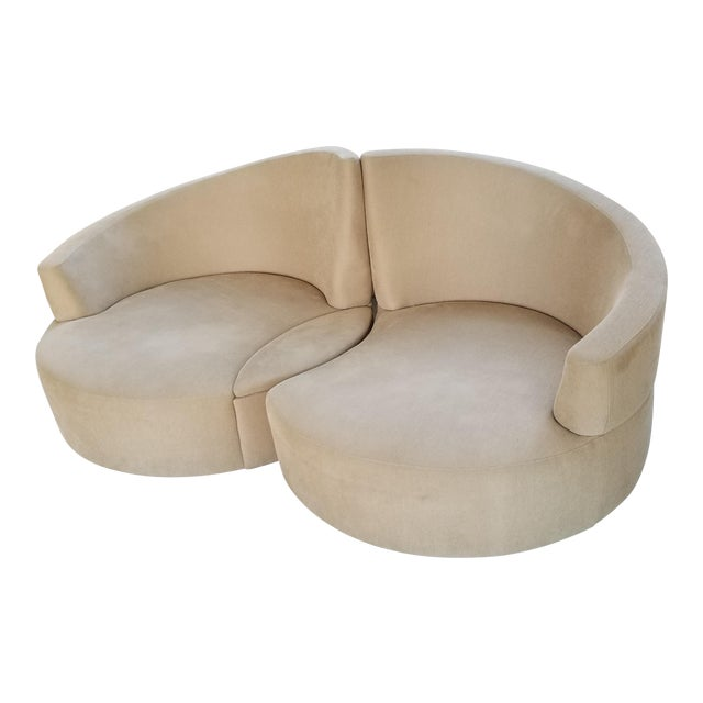 Vladimir Kagan 2 Piece Swivel Loveseat - Image 1 of 6