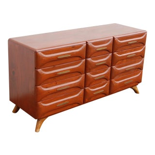 1950s Mid-Century Modern Franklin Shockey Sculptured Pine Lowboy Dresser For Sale