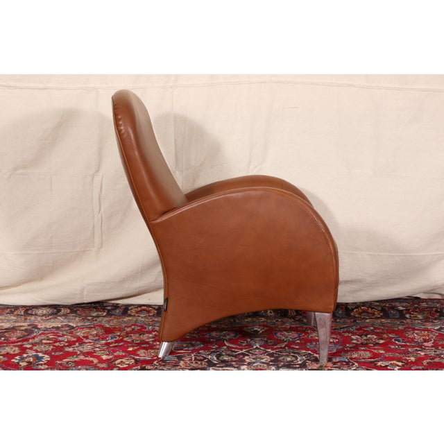 Vintage Molinari Tan Leather Armchair For Sale - Image 10 of 11