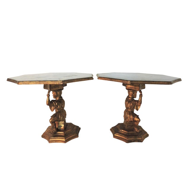 Early 20th Century Antique Figural Italian Gilt Wood 'Chinese' Side Tables by Fratelli Paoletti (Early 20th. Century) For Sale - Image 5 of 12
