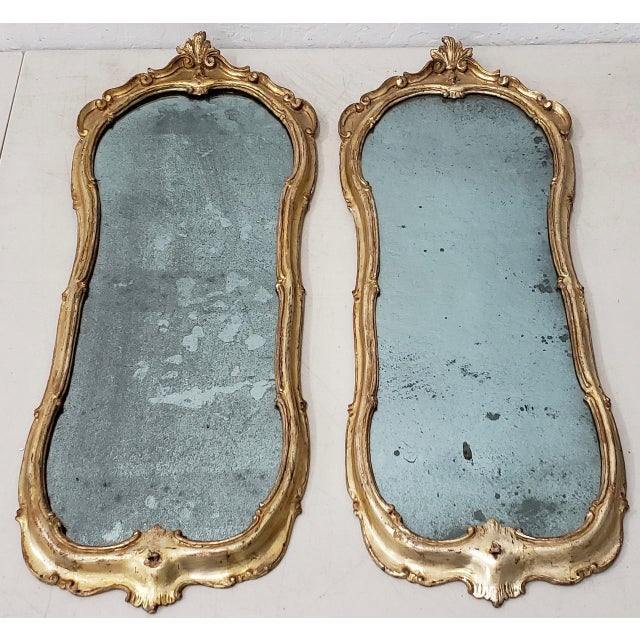 Matching Pair of 19th Century Italian Hand Carved & Gilded Mirrors For Sale - Image 10 of 10