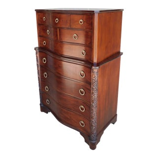 "Vintage Mahogany Regency Style Serpentine Front Tall Chest 56""h For Sale"