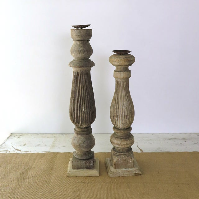 Reclaimed Wood Baluster Candle Holders - Pair - Image 4 of 8