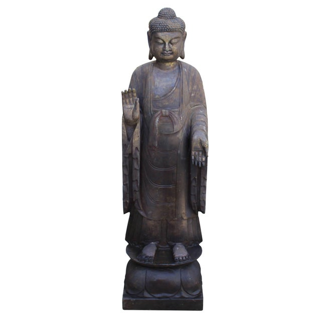 2010s Chinese Dark Gray Stone Carved Standing Abhaya Mudra Buddha Statue For Sale - Image 5 of 8