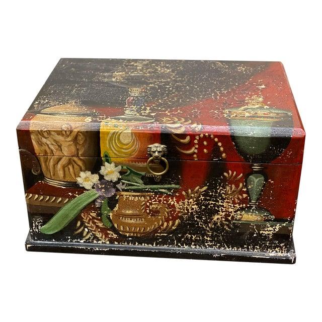 Vintage Italian Wood Painted Box For Sale