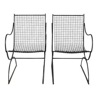 Vintage French Wire Garden Armchairs - A Pair