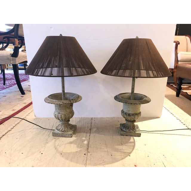 Iron Garden Urn Table Lamps - a Pair For Sale - Image 13 of 13