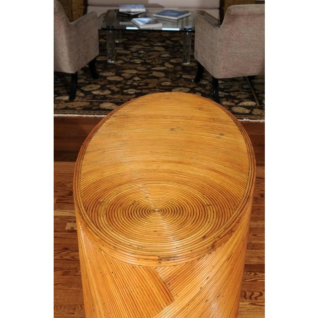 Bamboo Dramatic Restored Vintage Oval Sunburst Bamboo and Brass Console For Sale - Image 7 of 11