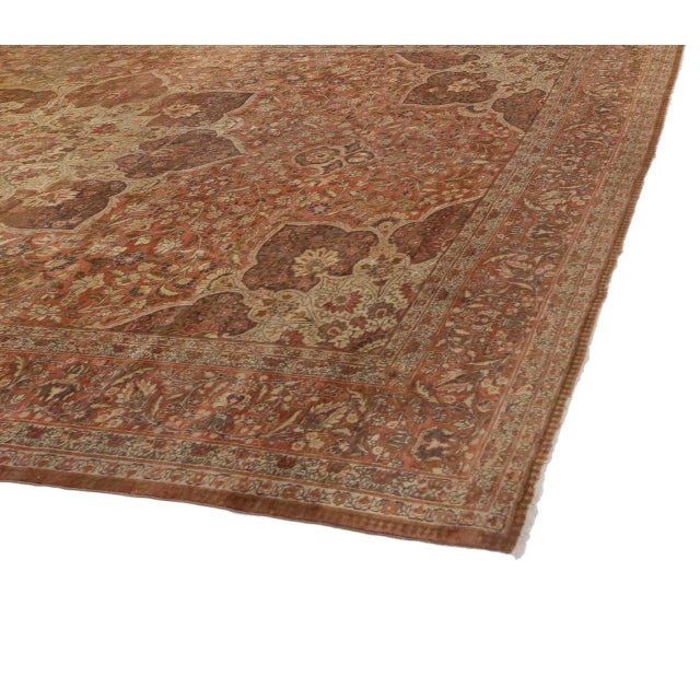 Haji Khalili Antique Persian Tabriz Rug with Art Nouveau Style in Gallery Size For Sale - Image 4 of 8