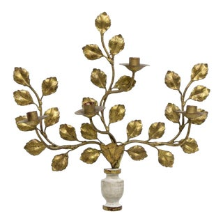 Italian Carved Vasiform & Leafy Branch Wall Sconce For Sale