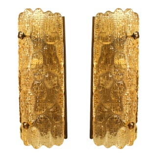"Mid-20th Century Orrefors Swedish ""Crocodile"" Textured Wall Sconces - a Pair For Sale"