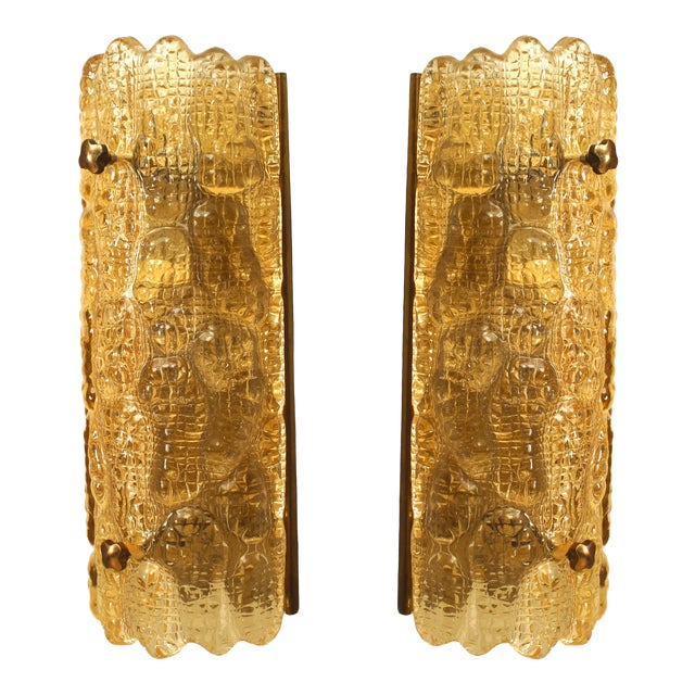 """Mid-20th Century Orrefors Swedish """"Crocodile"""" Textured Wall Sconces - a Pair For Sale"""