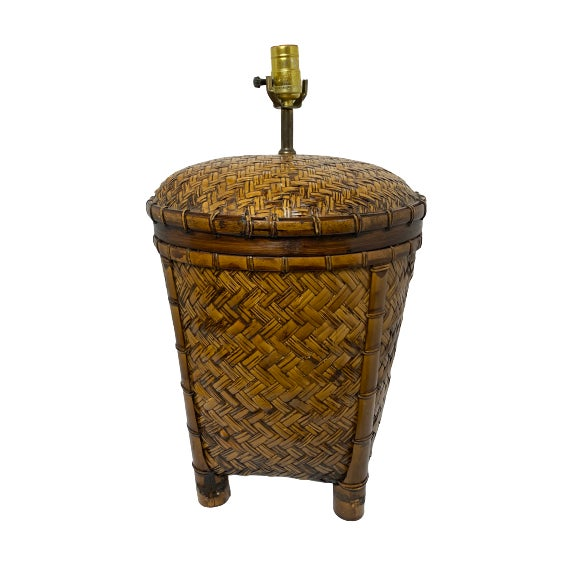 Wood Vintage 1970s Woven Rattan Table Lamp For Sale - Image 7 of 7
