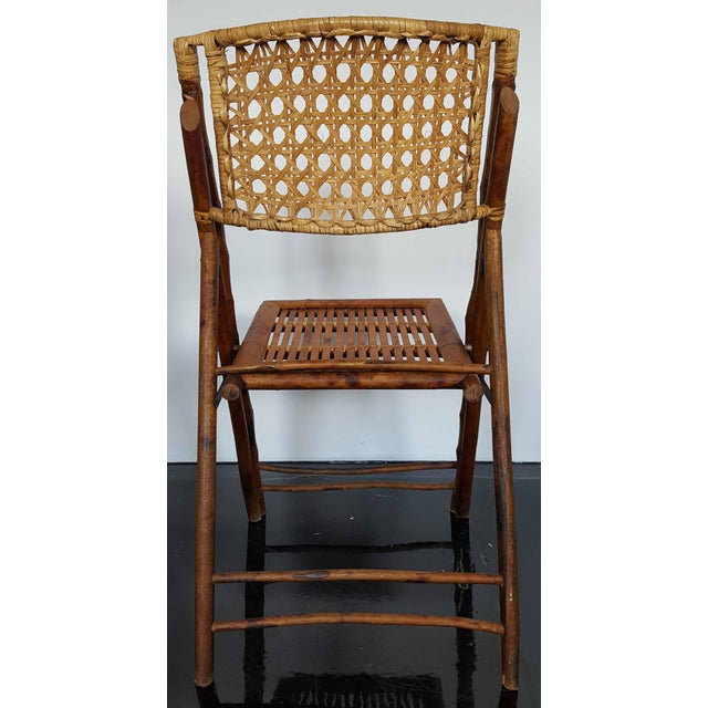 Rattan & Bamboo Folding Chairs - A Pair For Sale - Image 5 of 10