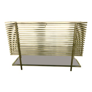 Modern Slatted Steel Chrome and Glass Dry Bar For Sale