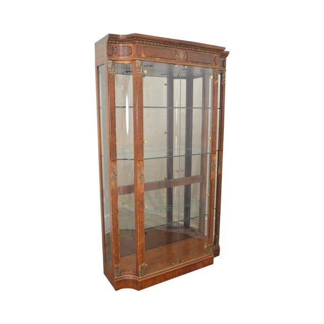 Henredon Grand Provenance French Louis XV Style Burl Wood Curio Display Cabinet For Sale