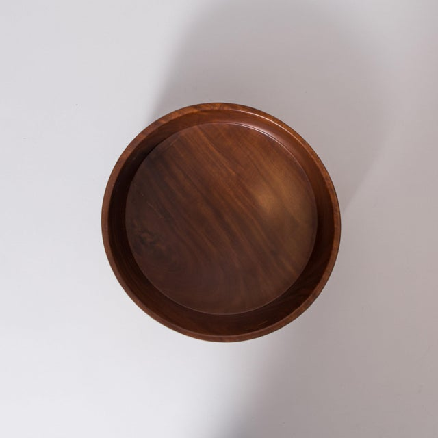 Wood Hand Carved Corteza Lingnum Vitae Cylindrical Bowl For Sale - Image 7 of 9