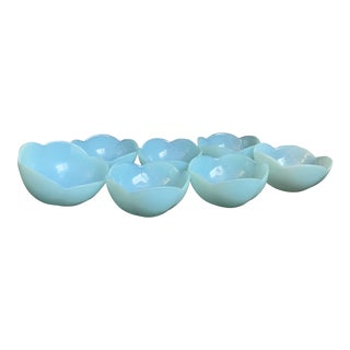 1960s Italian Murano Tiffany Blue Opalescent Lotus Glass Bowls by Cenedese - Set of 7 For Sale
