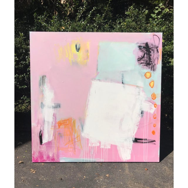 Bold, playful, and colorful shapes and marks form an eye catching and balanced composition. 48 x 48 on thick gallery...