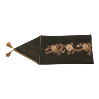 Arts & Craft Green Velvet Table Runner With Gold Tassels For Sale