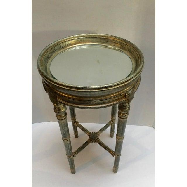 Faux Bamboo Faux Bamboo Painted Side Table With Mirror Top For Sale - Image 7 of 10