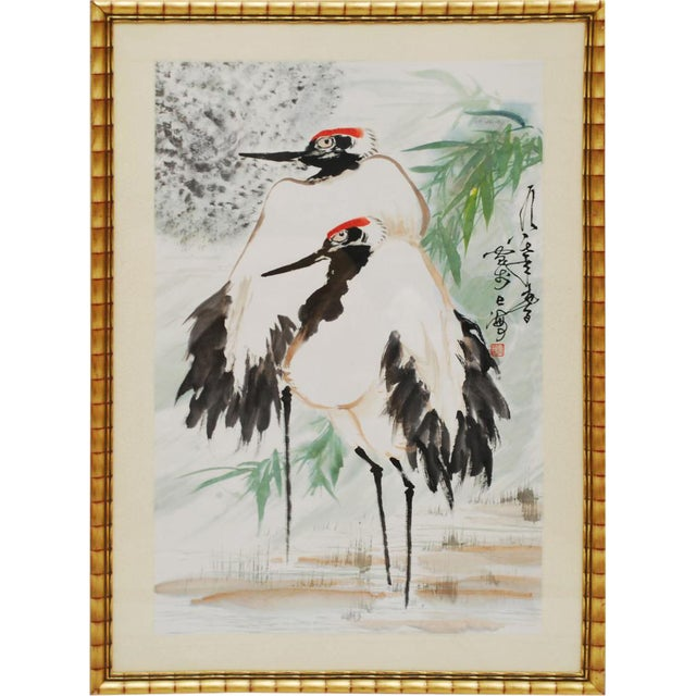 Large Mid-Century Japanese Cranes Watercolor Painting For Sale