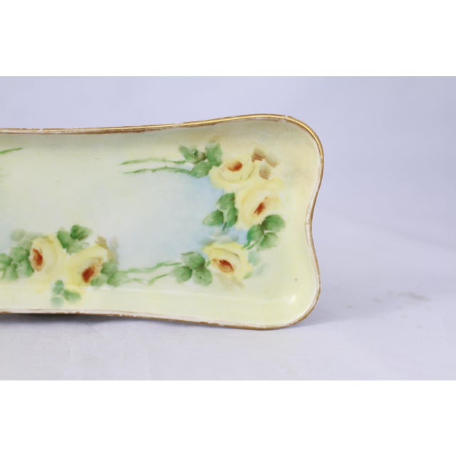 French Antique Hand-Painted Porcelain Yellow Rose Trinket Tray For Sale - Image 3 of 11