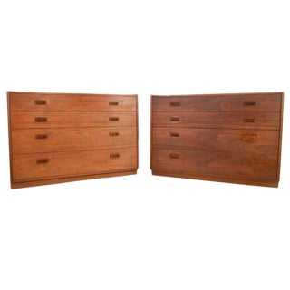 Founders Mid-Century Walnut Dressers - a Pair For Sale