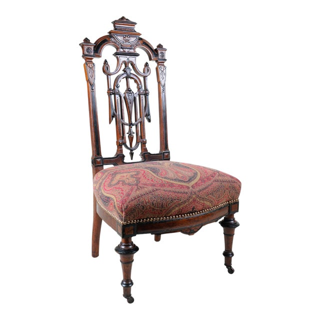 1880s Aesthetic Period Carved Wood Chair, Accent Chair, Victorian Style For Sale