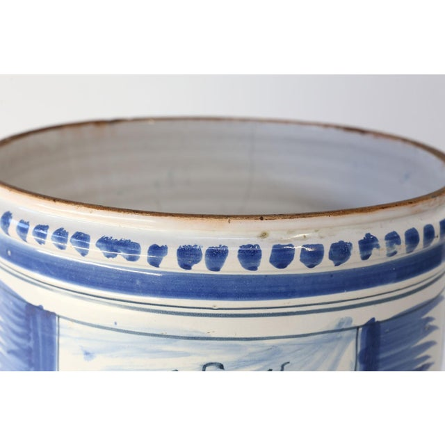 Nevers Faience 'Pot a Oranger' adorned with painted farmhouse scenes and scrolled decoration in shades of blue (camaieu...