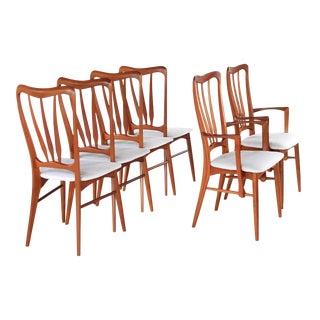 1960s Vintage Niels Koefoed for Koefoed Hornslet of Denmark Ingrid Dining Chairs Set of 6 For Sale