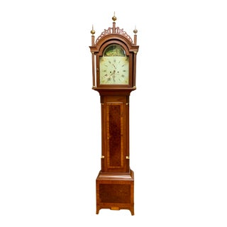 Antique Mahogany Inlay Longcase Grandfather Clock With Hand Painted Face For Sale