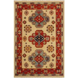 Kazak Garish Adela Ivory/Red Wool Rug - 3'11 X 5'10 For Sale