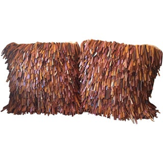 Spaghetti Leather Pillows - A Pair For Sale