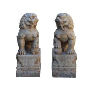 Chinese Off White Marble Stone Fengshui Foo Dogs Statues - A Pair For Sale