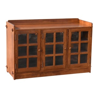 Crafters and Weavers Mission Oak 3 Door Console - Michael's Cherry For Sale