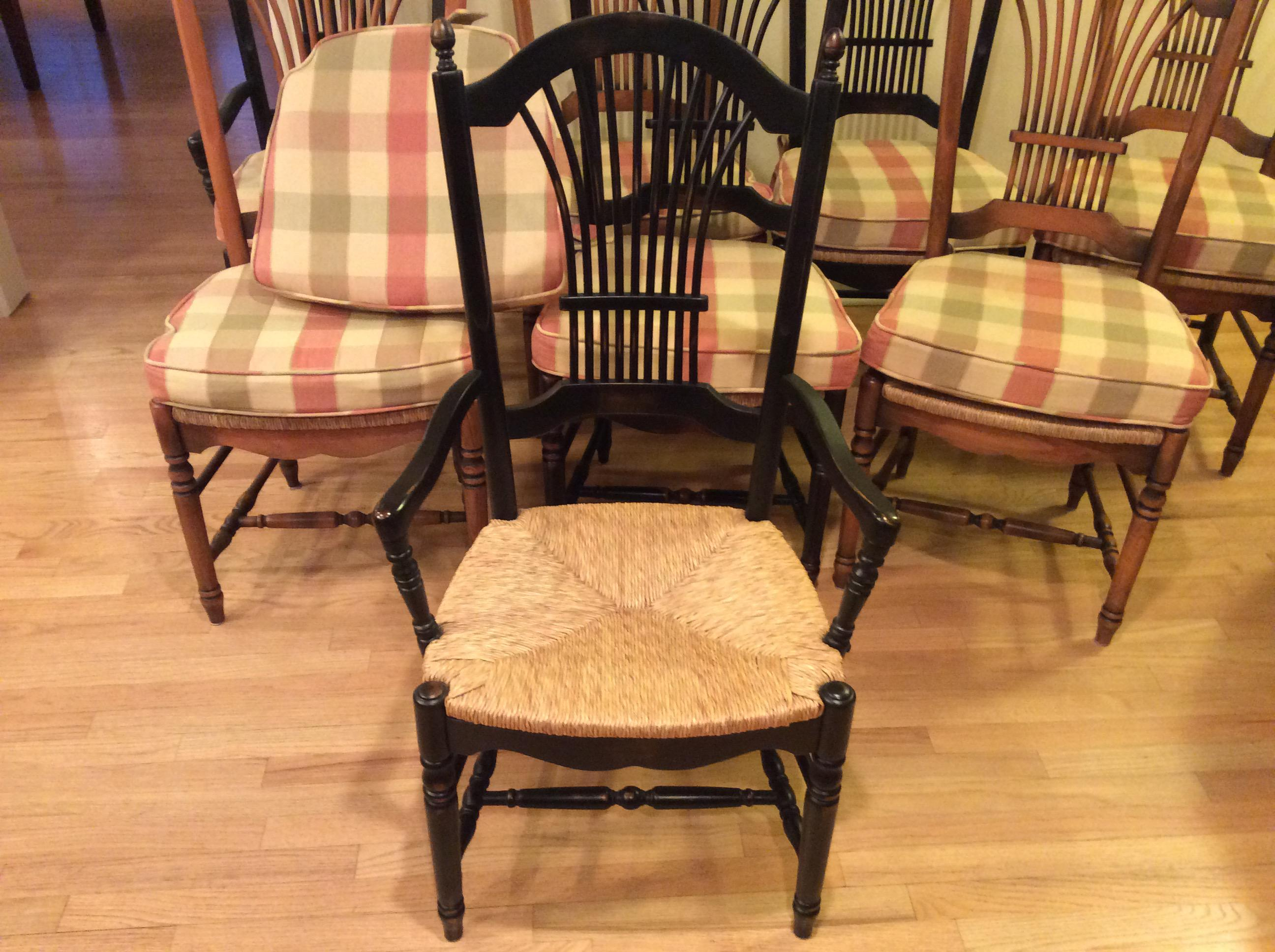 Wood Wheat Back Dining Chairs With Rush Seat   Set Of 8   Image 3 Of