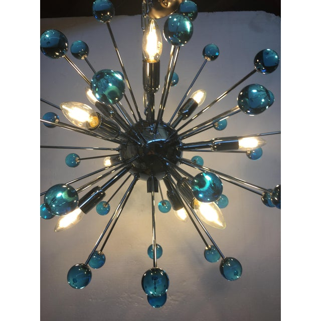Blue Murano Glass Chandelier in Sputnik Style With a Chrome Frame For Sale - Image 6 of 13