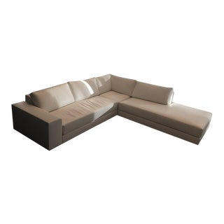 New Chai Ming Studios Gary Lee Atelier Custom White Leather Sectional Sofa For Sale
