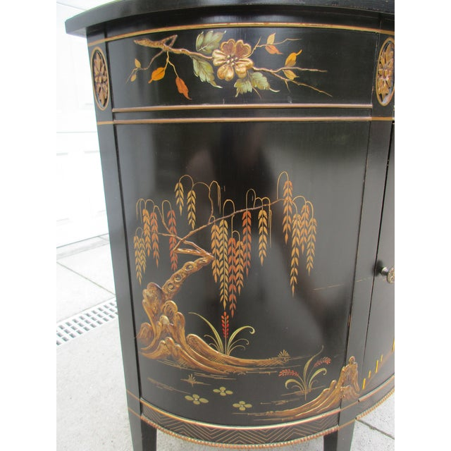 Asian 20th Century Chinoiserie Black Lacquered Demi-Lune Commode or Cabinet For Sale - Image 3 of 11